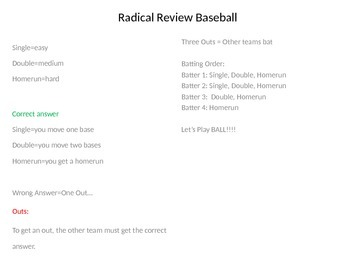 Radical Review Baseball Game