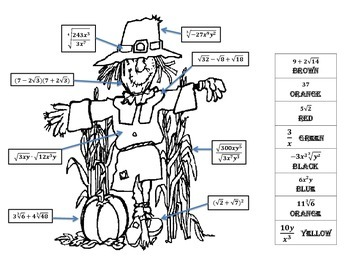 Radicals Review Scarecrow Coloring Sheet