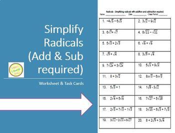 Powers real numbers - Simplifying Radicals Worksheet or As