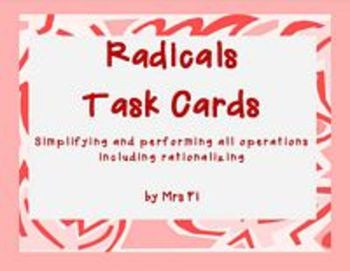 Radical Expressions  Lesson 1 2 3  - Task Cards