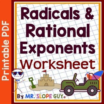Radicals and Rational Exponents HSN-RN.A.2 Algebra Worksheet PDF