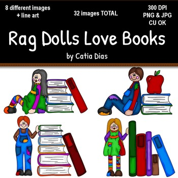 Rag Dolls Love Books Clip Art