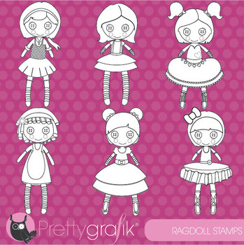 Rag doll stamps commercial use, vector graphics, images - DS459