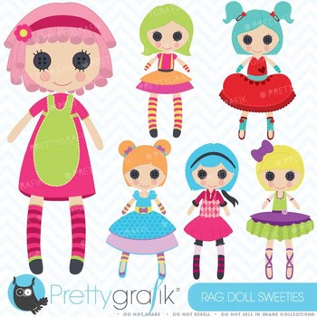 Rag doll, toy girl clipart commercial use, vector graphics