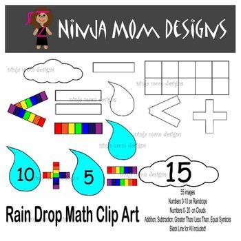 Rain Drop Math Clip Art- 55 Images- Black Line Included