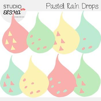 Rain Drops Clipart in Pastel Colors (Studio ELSKA)