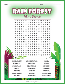 Rainforest Word Search Puzzle