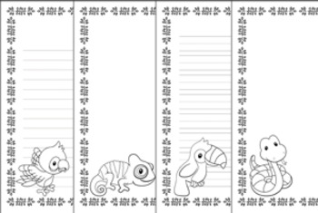 Rain Forest Animals Writing Paper - 3 Styles - Black and White