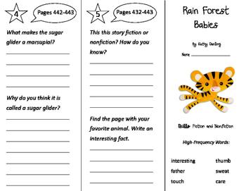 Rain Forest Babies Trifold - Storytown 2nd Grade Unit 3 Week 4