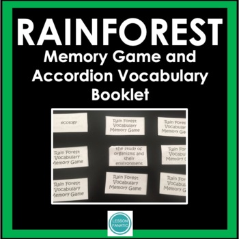Rainforest Vocabulary Memory Game with Accordion Booklet a