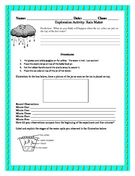 Rain Maker Exploration Activity ~ Water Cycle