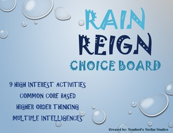 Rain Reign Choice Board Tic Tac Toe Novel Activities Assessment