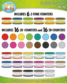 Rainbow 2-Sided Circle Counters Clip Art Set  — Over 60 Graphics!