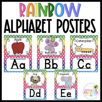 {Rainbow} Alphabet Line with Pictures
