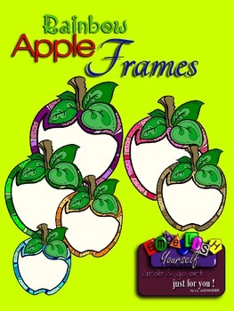 Rainbow Apple Frames Clipart (Embellish Yourself Artworks)