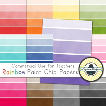 Rainbow Background Papers for Commercial Use {Paint Chip Strips}