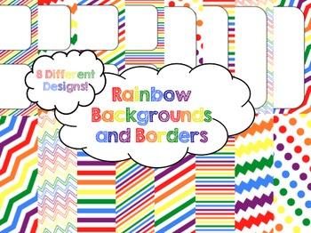Rainbow Backgrounds and Borders FREEBIE