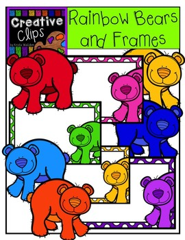 {FREE} Rainbow Bears and Frames {Creative Clips Digital Clipart}
