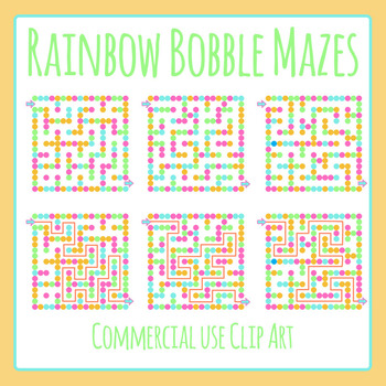 Rainbow Bobble Mazes Clip Art Set for Commercial Use