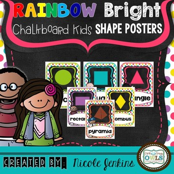 Rainbow Bright Chalkboard Kids 2D and 3D Shape Posters