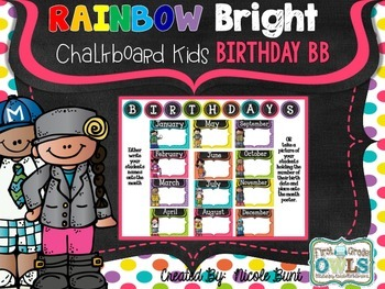 Rainbow Bright Chalkboard Kids Birthday Bulletin Board