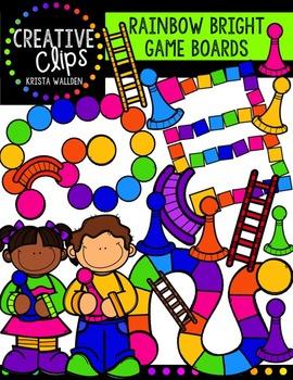 Rainbow Bright Game Boards{Creative Clips Digital Clipart}