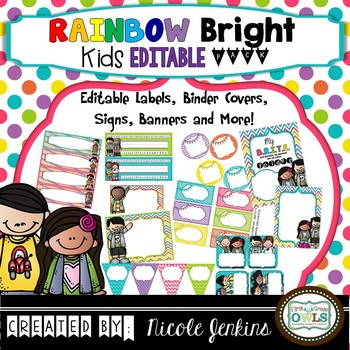 Rainbow Bright Kids EDITABLE Add-on Pack (No Chalkboard)