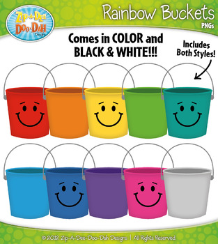 Rainbow Counting Buckets Clipart Set — Over 20 Graphics!