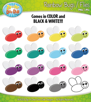 Rainbow Bugs / Flies / Insects Clipart — Over 15 Graphics!