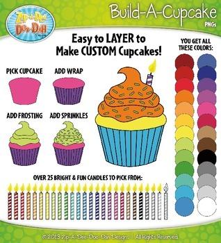Build A Cupcake Clip Art Set — Over 150 Rainbow Graphics!