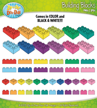 Rainbow Building Blocks Clipart — Over 50 Colorful Graphics!