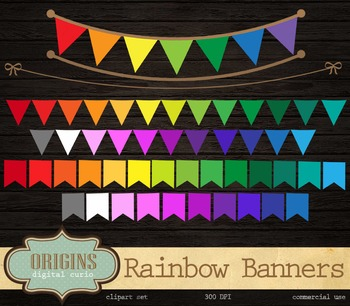 Rainbow Bunting Banners Clipart