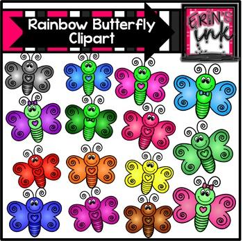 Rainbow Butterflies Clipart