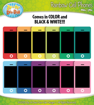 Rainbow Cell / Smart Phone Clip Art — Includes 18 Graphics!