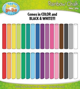 Rainbow Chalk Sticks Clip Art — Includes 32 Graphics!