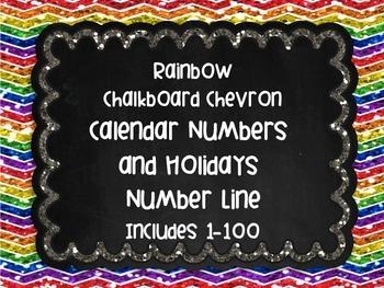 Rainbow Chalkboard Chevron Calendar Numbers Holidays and N