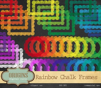 Rainbow Chalkboard Frames, Scalloped Chalk Clipart