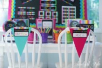 Classroom Decor-Rainbow Chalkboard Pennants