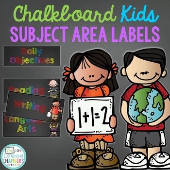 Rainbow Chalkboard Daily Objective and Subject Area Labels