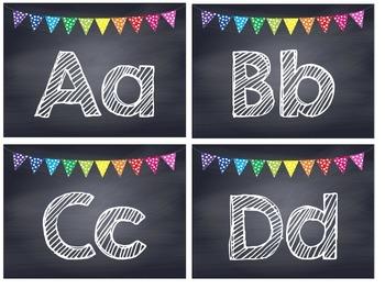 Rainbow Polka Dot Chalkboard Word Wall Headers