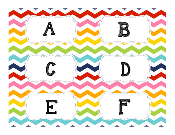 Rainbow Chevron Book Basket labels