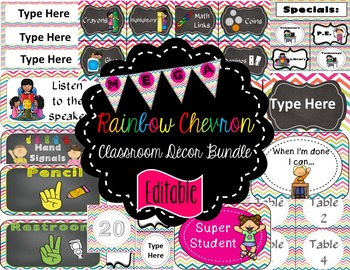 Rainbow Chevron Classroom Decor Mega Bundle (Editable Grow
