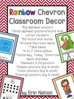 Rainbow Chevron Classroom Decor bundle