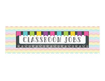 Rainbow Chevron Classroom Job Cart