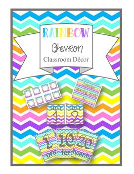 Rainbow Chevron Classroom Decor