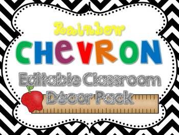 Rainbow Chevron Decor Pack {Editable}