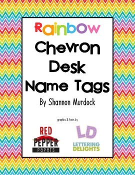 Rainbow Chevron Desk Name Tags