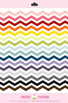 Rainbow Chevron Digital Clip Art Border Set - by Sweet papers