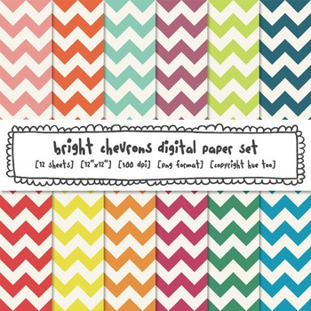 Rainbow Chevron Digital Paper, Classroom Decor Bright Backgrounds