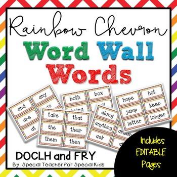 Rainbow Chevron High Frequency Word Wall Words * Editable *